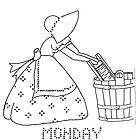 Hand Embroidery PATTERN 7286 Days of the Week for Kitchen Towel 1960s