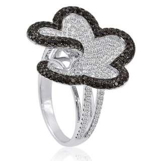 10CT FANCY BLACK DIAMOND FLOWER PAVE GOLD RING VS1 E