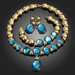 ARINNA chic Blue stones Gold GP necklace earring bracelet set