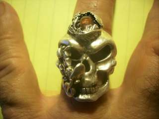 Huge Thick Vintage Sterling Silver Harley Biker Skull Ring Jewelry