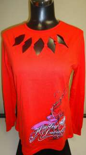 Womens Harley Davidson Red Sinful Risk Long Sleeve Shirt. 5H01 V968
