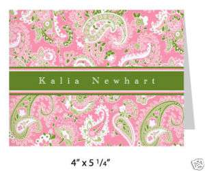 10 Personalized Note Cards Stationery Pink Paisley