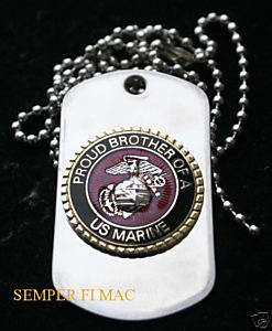 PROUD BROTHER OF A US MARINE DOG TAG PIN BOOT CAMP