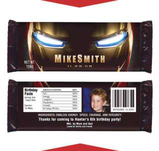 IRONMAN Boy Birthday Party Favors CANDY WRAPPERS