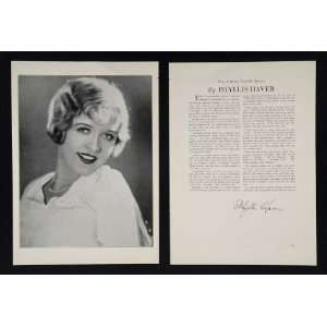 1930 Phyllis Haver Actor Movie Silent Film Star Print