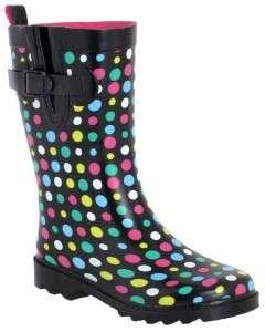 NIB Capelli New York Shiny Polka Dot Solid Rubber Rain/Snow Boots