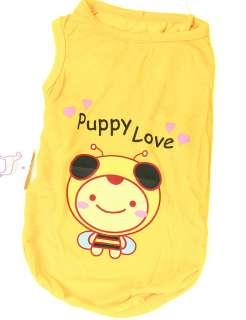 Yellow BEE Summer Vest T Tank Shirt Dog Clothes AnySize