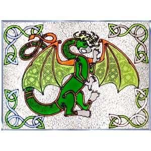 DRAGON Celtic IRISH Glass Window 10 x 14 Suncatcher KNOT