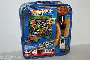 HOT WHEELS GAME RUG WITH 2 AUTHENTIC HOT WHEELS CARS, NEW