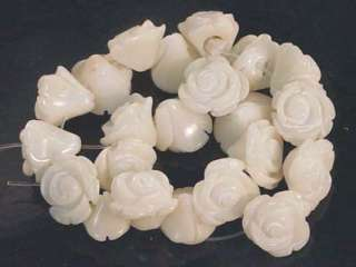 10mm White Coral Hand carved Rose Beads (22pc)