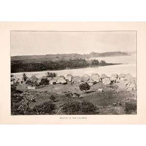 1893 Halftone Print Mouth Chagres River Panama Huts Camp Homes Village
