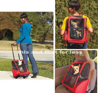 Pet Carriers Red or Black Stroller Wheels Backpack Car Crate Dog Cat