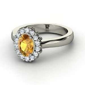 Princess Kate Ring, Oval Citrine 14K White Gold Ring with Diamond