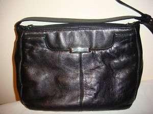 Kathie Lee Leather Messenger Sling Bag Purse Black
