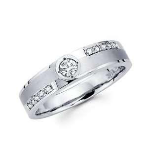 Size  7   1/4ct Diamond 14k White Gold Mens Wedding Matching Ring Band
