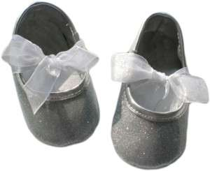 NEW Soft Sole Baby Shoes   Glitter Bow Pink or Silver