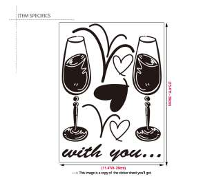 WINE GLASSES Home Bar & Cafe Decor Vinyl Decal Stickers