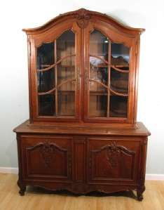 Antique French Provincial Louis XV China Display Cabinet (Oak Bookcase