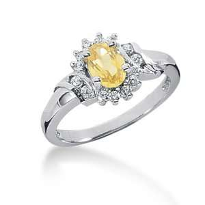 1.05 Ct Diamond Citrine Ring Engagement Oval cut 14k White