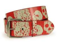 removable roller buckle with snaps printed with skull and cross bone