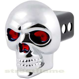 SKULL TOW HITCH PLUG RECEIVER COVER BRAKE LIGHT UP EYES
