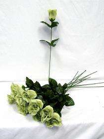 24 GREEN Silk Single Long Stem Rose Buds Wedding Flower