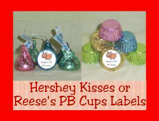 Farm Cow Horse Barn Party Favor Candy Kisses Labels