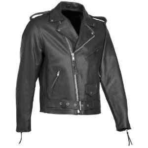 River Road Black Leather Motorcycle Jacket (Mens & Womens