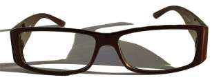 Retro Style Rectangle CLEAR Lens Black Brown Glasses IG