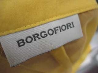 BORGOFIORI Yellow Sheer Silk Ruffle Front Blouse Top 6