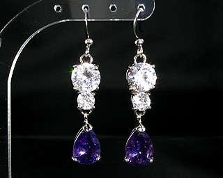 Pear Cut Purple Amethyst White Gold GP Dangle Earrings
