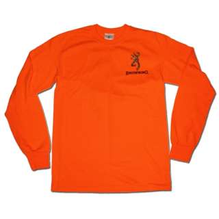 Safety Orange Browning Camouflage Buckmark Long Sleeve T Shirt   Logo