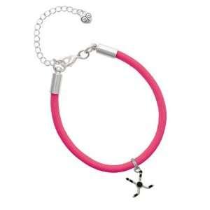 Hockey Sticks with Puck Charm on a Hot Pink Malibu Charm