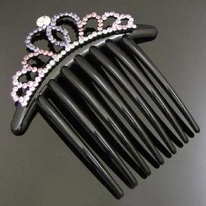 Item  1pc rhinestone crystal crown French twist hair comb
