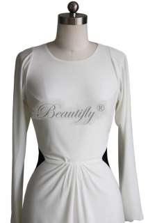 Sexy White Sleeves Spandex Evening Cocktail Mini Prom Gown Party