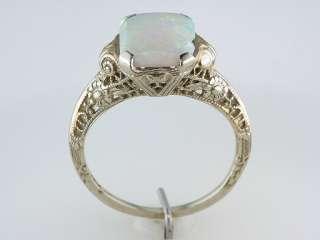 Antique Art Deco 1ct Opal 14K White Gold Filigree Engagement Ring