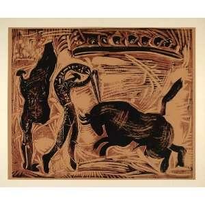 1962 Linocut Banderillas Bull Corrida de Toros Picasso