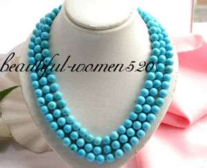 3row nature 10mm sky blue turquoise bead necklace