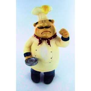 Fat Chef Statue Bistro Cooking Frying Pan Egg Head Kitchen Figure