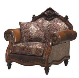 Warm Brown Rococo 3 pc Sofa Set