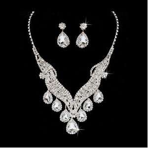 Bridal Wedding Jewelry Set Necklace Crystal Rhinestone Brilliant V