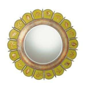 Beveled Wall Mirror in Light Green with Flower Shaped