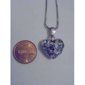 Silver and Blue Swarovski Crystal Heart Necklace