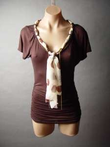 Posh Polka Dot Print Scarf Tie Neck Chain Fringe Top Shirt M