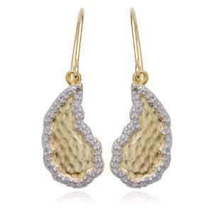 18k Yellow Gold Plated Sterling Silver Diamond Accent Textured Wire