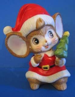 Homco #5405 Christmas Tree Santa Mouse Figurine Vtg