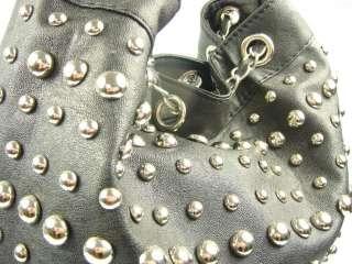 Womens Black Stud Drawstring Bucket Bag Crossbody Leather Style