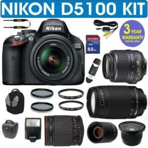 REFURBISHED NIKON D5100 + 5 LENS KIT + 8GB MEMORY CARD 018208919758