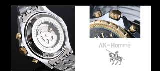 AK Homme New Classic Mens Black Dial Gold Automatic Mechanical Wrist