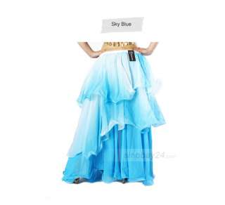 Womens Frilled Three Layered Chiffion Gradient Belly Dance Skirt